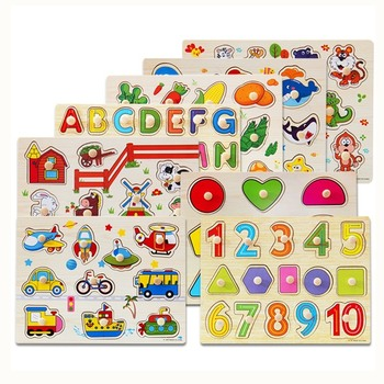 Baby Wooden Puzzle Toys Digital Letter Fruit Animal Hand Grasp Jigsaw Puzzle Toys for Toddler Kids Early Educational Toy 2 Years wooden animal gear game combination rotating gearwheel children educational toys hand eye interaction kids fun puzzle toy