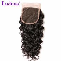 Luduna Water Wave 4x4 Lace Closure Free Part Brazilian Non-remy Hair Bundles 100% Human Hair Natural Black Free Shipping