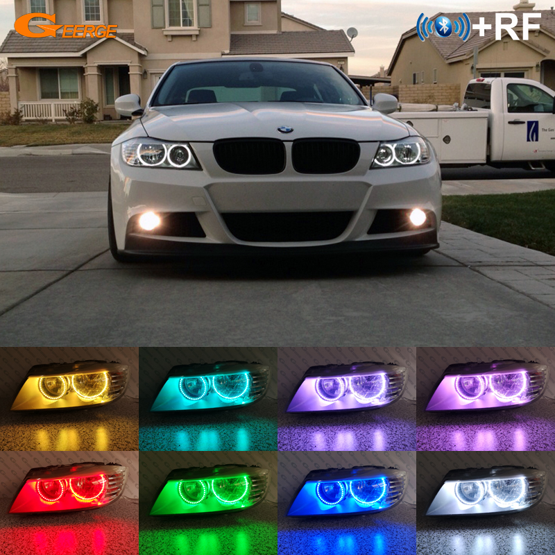 For BMW 3 Series E90 E91 LCI 2009 2010 2011 Halogen Headlight Excellent RF Bluetooth APP Control Multi-Color RGB led angel eyesFor BMW 3 Series E90 E91 LCI 2009 2010 2011 Halogen Headlight Excellent RF Bluetooth APP Control Multi-Color RGB led angel eyes
