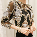 Luxury Tops New 2017 Spring Autumn Fashion Women Black / Beige Beading & Sequined Sexy Perspective Elegant Tops