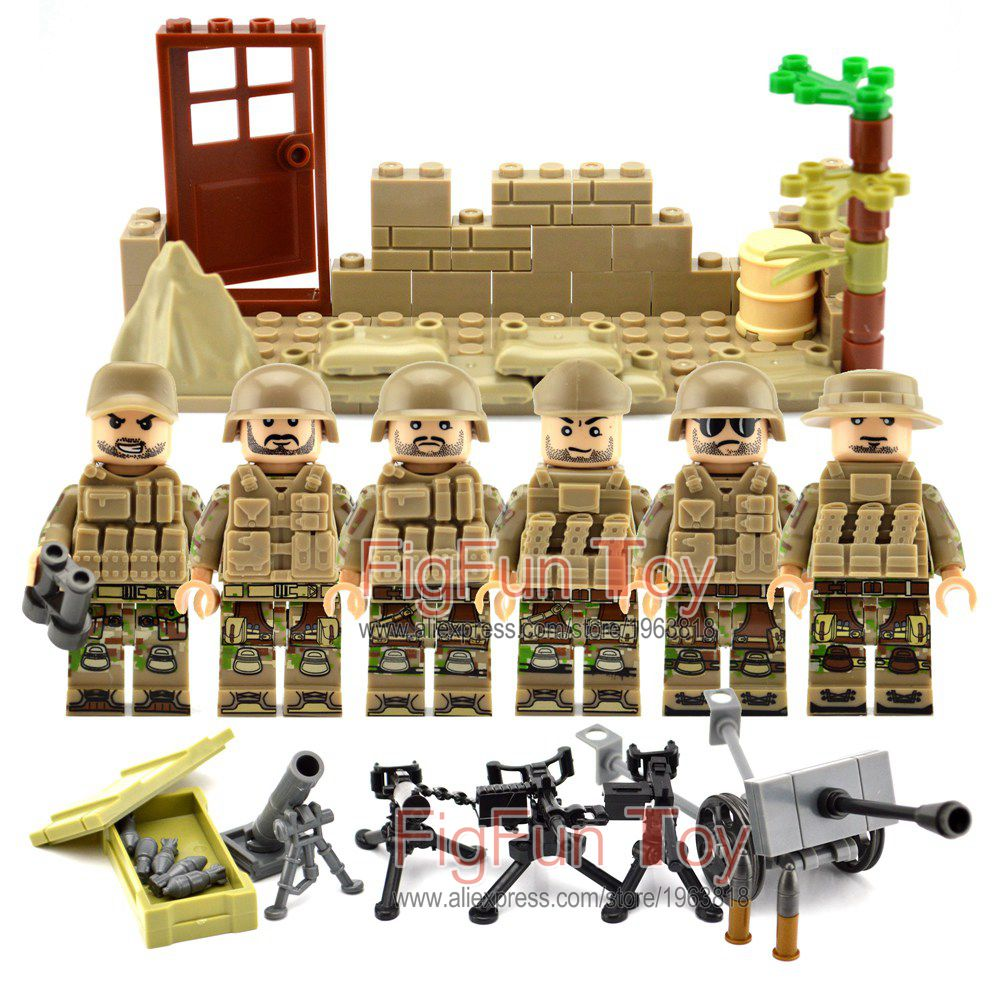 Custom Military Army Soviet US Soldiers Mountain Special Forces Weapons Building Block Bricks Gifts Toys for Children building soviet citizens with american tools
