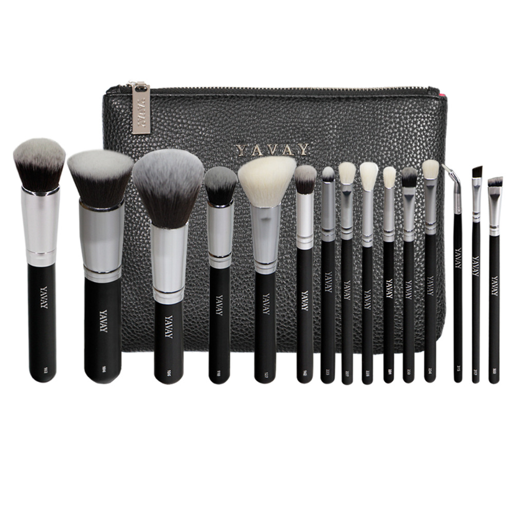 YAVAY Brand 15 PCS Makeup Brush Set Professional Make Up Beauty Blush Foundation Contour Powder Cosmetics Makeup Brushes Y15A 12pcs makeup brushes professional make up brush set pincel maquiagem for beauty blush contour foundation cosmetics
