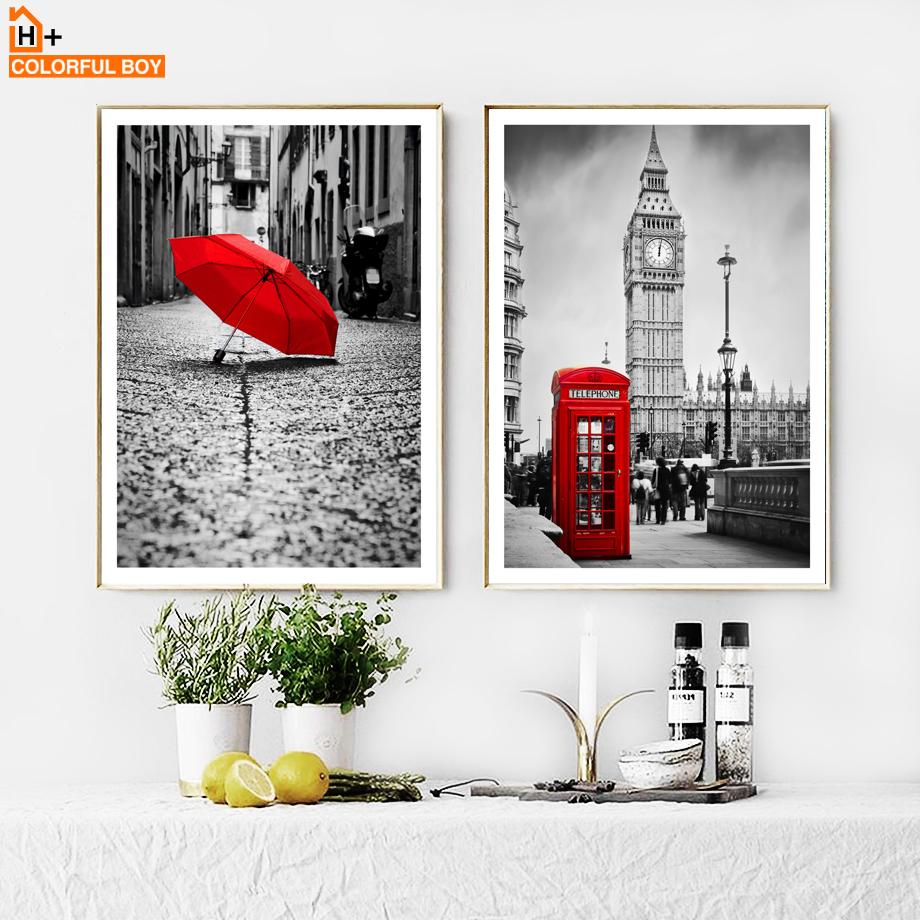 London Big Ben City Street Landscape Wall Art Canvas Painting Nordic Posters And Prints Wall Pictures For Living Room Home Decor in Painting Calligraphy from Home Garden
