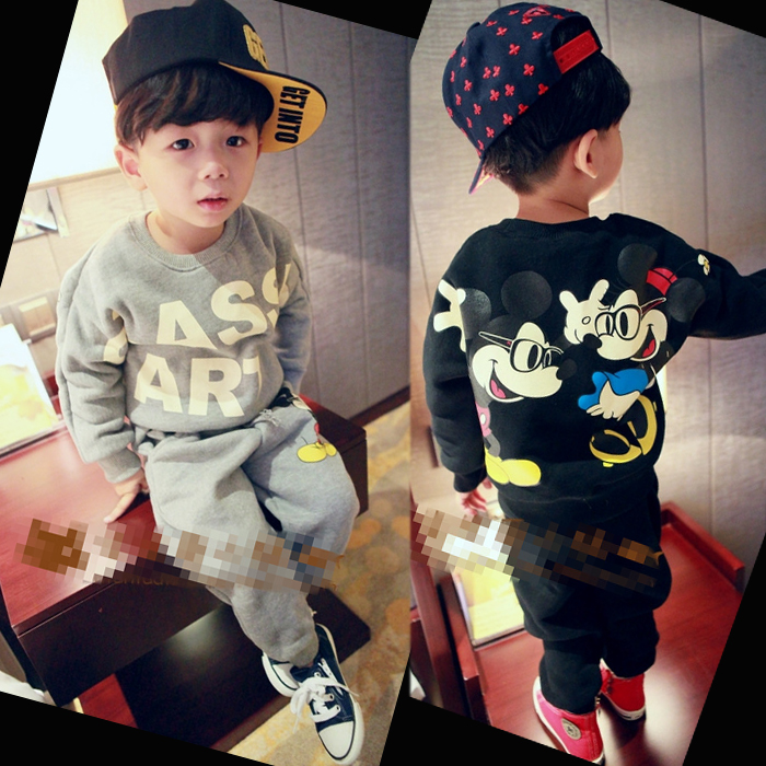 2016 of children's clothing qiu dong outfit boy suit mickey is the 1-2-3-4-5 years old children baby cotton sport suit qiu dong korean fashion personality joker empty hat knitting wool hair hoop headband