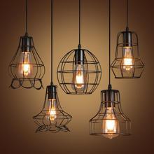 Retro Iron Pendant Lights Loft Vintage Lamp Restaurant Bedroom Living Room E27 Birdcage Pendant Lamp Hanging Light Fixture