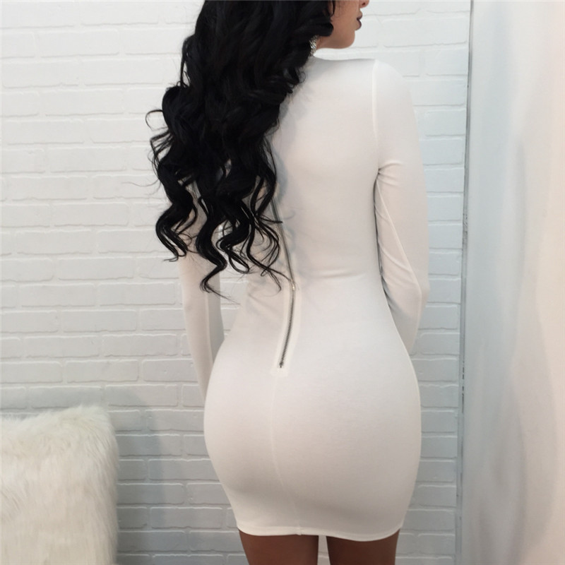 Spring Autumn New Rhinestone Long Sleeve Bodycon Dress Women Sexy Hollow Out Club Wear Short Party Sparkly Dresses Robe Vestidos