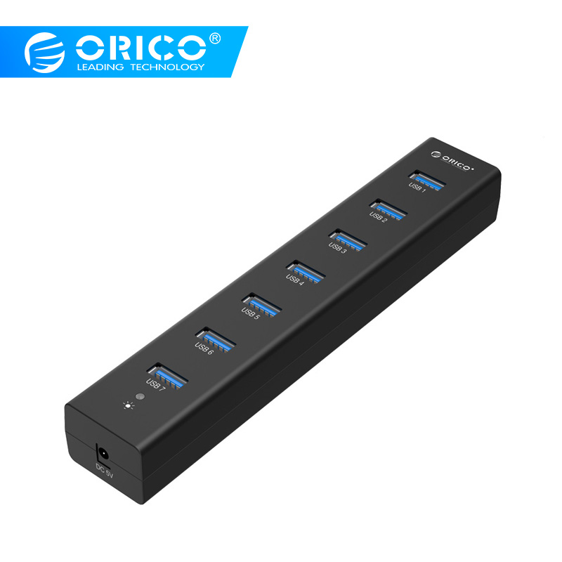 ORICO H7013-U3-AD 7 Port USB 3.0 HUB With 5V2A Power Adapter High Speed   - Black