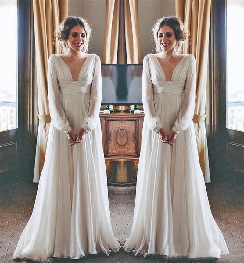 Boho Beach Wedding Dresses 2019 Long Sleeves V Neck Plus Size Chiffon Cheap  Summer Maternity Country Greek Style Bridal Gowns