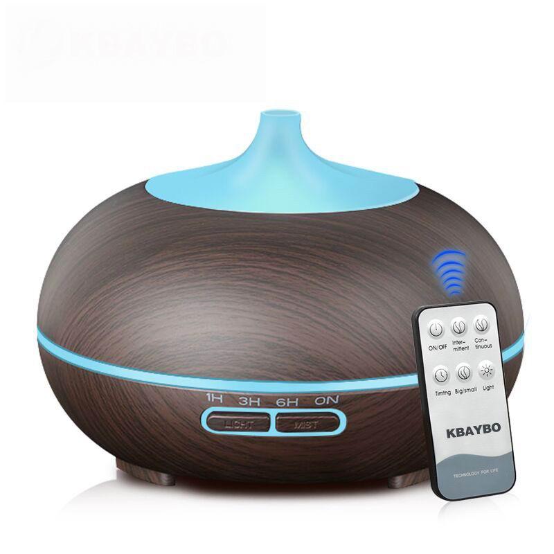 300 ML Aroma Difusor de Aromaterapia Difusor do Óleo Essencial de Grão de Madeira Ultrasonic Humidificador de vapor Frio Para Casa Controle Remoto