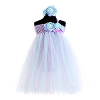 Lavender Blue Under the Sea Princess Ariel Dress Flower Princess Kids Girl Party Dresses for Girls Clothes Bithday Tutu Vestido