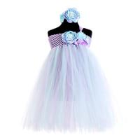 Lavender Blue Under the Sea Princess Ariel Dress Flower Princess Kids Girl Party Dresses for Girls Clothes Bithday Tutu Vestido