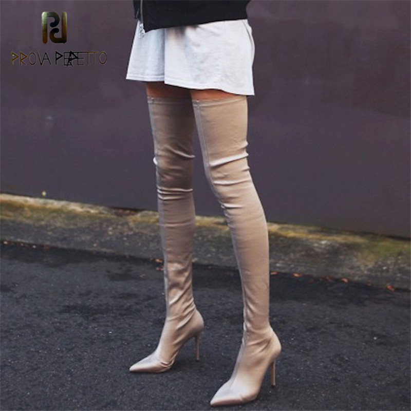 Prova Perfetto 2018 Thigh High Boots Fashion Over The Knee Elastic Stretch Boots Women Sexy Over The Knee High Heels Sock Boots black stretch fabric suede over the knee open toe knit boots cut out heel thigh high boots in beige knit elastic sock long boots