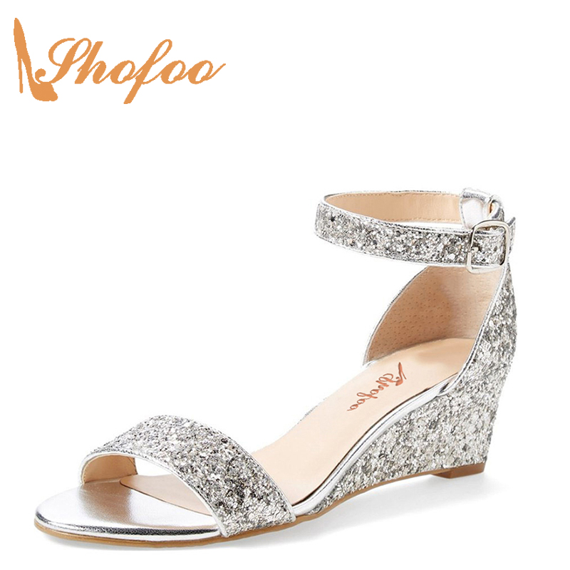 Shofoo Ladies Shoes Wedge-Sandals Nude Dress Ankle-Strap Glitter Black Big-Size Beach