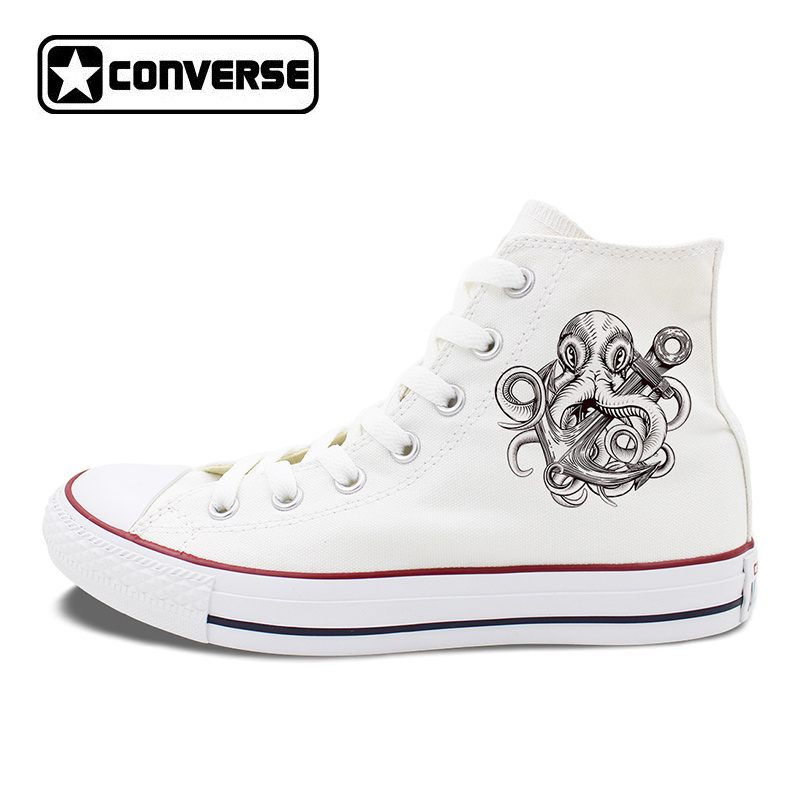 Unisex White Black Converse All Star Skateboarding Shoes Original Design Octopus Anchor Men Women's High Top Canvas Sneakers original vans black and blue gray and red color low top men s skateboarding shoes sport shoes sneakers