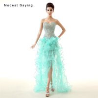 Sexy Mint Green High/Low Beaded Lace Evening Dresses 2017 with Ruffled Skirt Formal Women Party Prom Gown vestido de festa longo