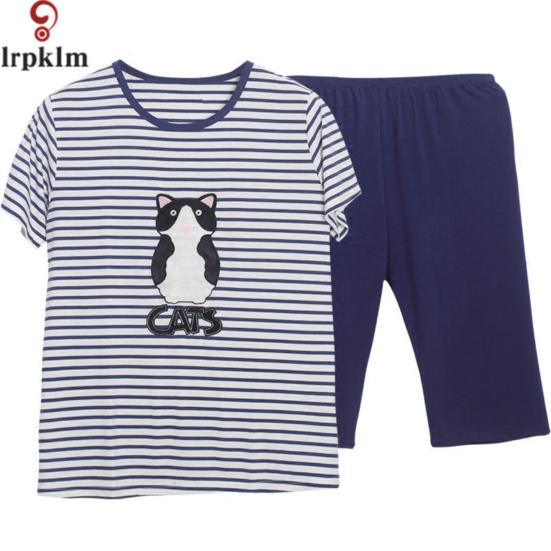 Hot Sale Women Pajamas Set Summer Girl Big Size Short Sleeve pyjamas Cat  Print Striped Sleepwear Nightwear Home Clothing SY469-in Pajama Sets from  Underwear ... ae7db33e0