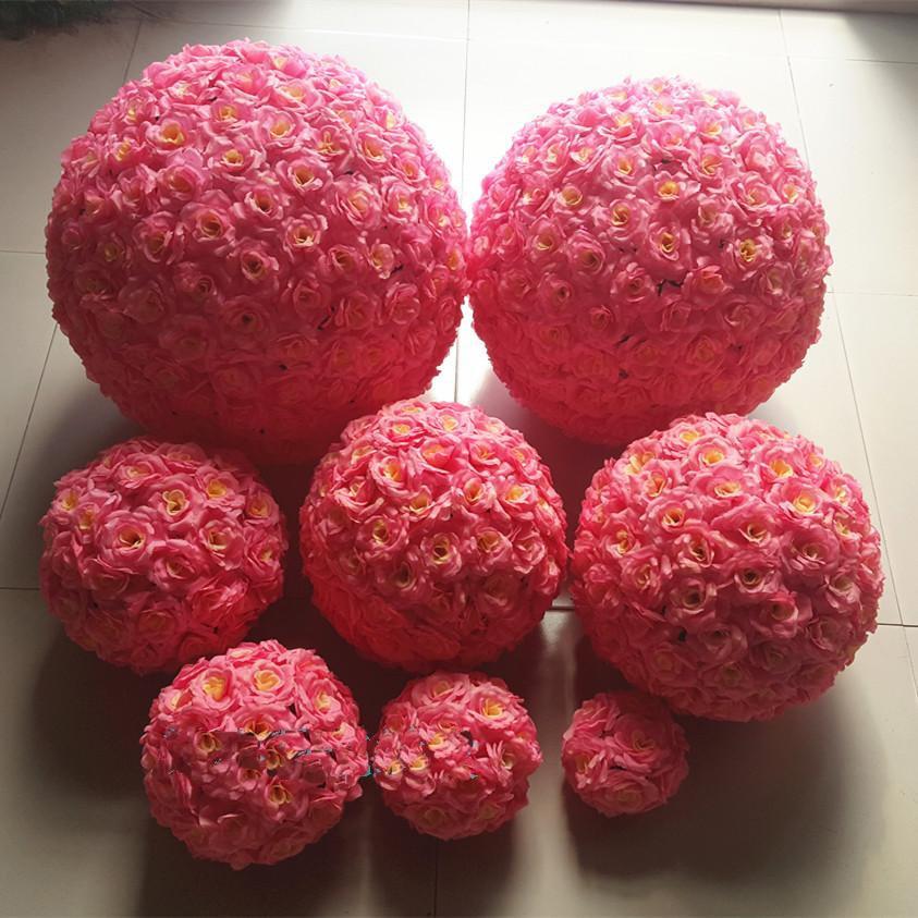 artificial flor de rose de seda kissing balls cm flores colgantes bola para la boda