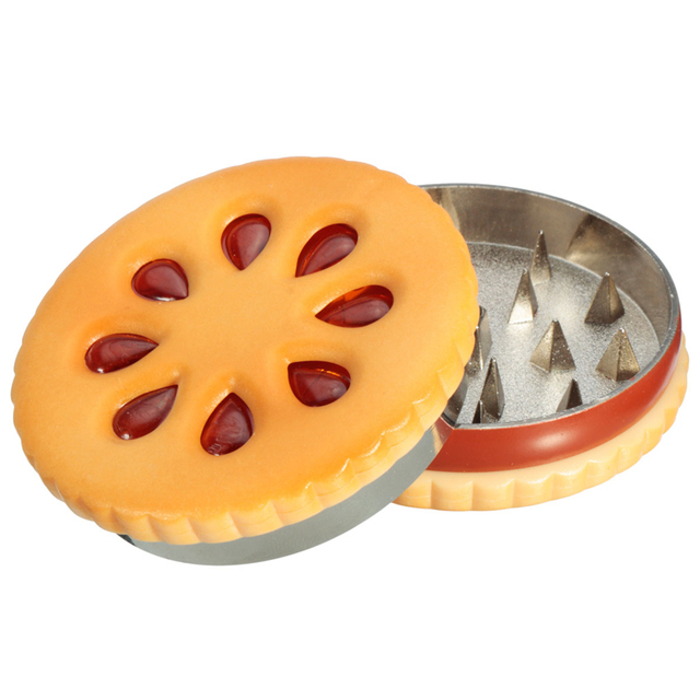 Big Promotion 55mm Cookie Shape Biscuit Metal Grinder Tabacco Crusher Dried Flowers Herbs Home Funny Gift for Men