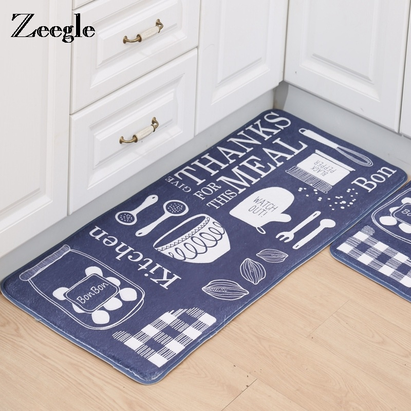 Zeegle Cooking Utensil Printed Carpets Anti-Slip Kitchen Mats Living Room Floor Carpets Soft Bedroom Beside Rugs Bathroom Mats