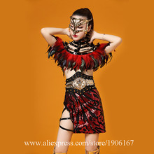Nightclub Sexy Lady Party Evening Dress Red Feather Ballroom Costume Stage Performance DS Clothing DJ Singer