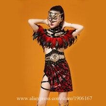 Для ночного клуба пикантные женские Вечерние вечернее платье Красный Перо Костюмы для бальных танцев костюм сценическое DS Костюмы DJ певица танец костюм