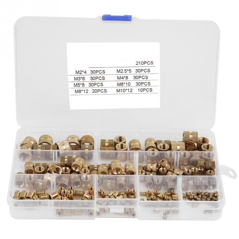 210Pcs/Set Cylinder Knurled Threaded Round Insert Embedded Nuts Classification Fastener Kit Knurled Nut With Plastic Box|Nut & Bolt Sets| |  - title=