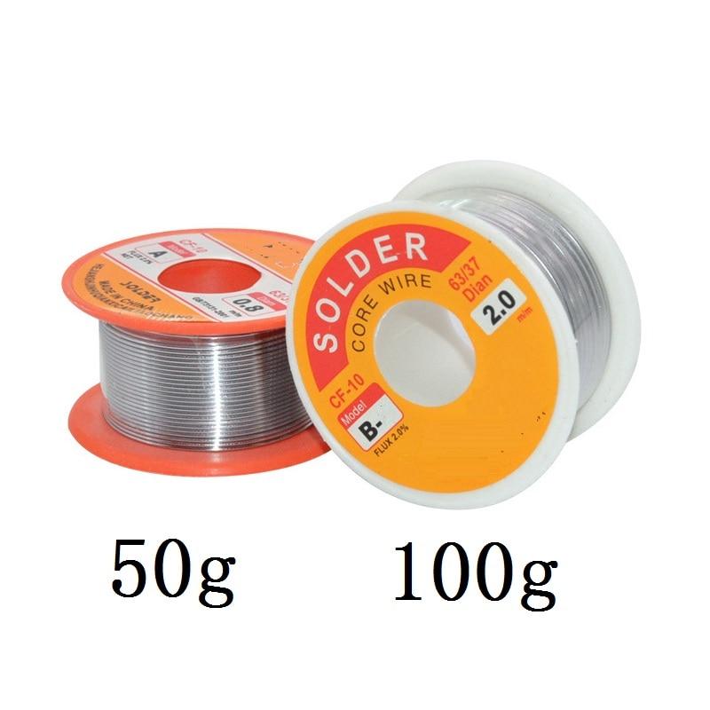 Nieuwe 100G 0.6/0.8/1/1.2 63/37 Flux 2.0% 45FT Tin Tin Lead Wire Melt Rosin Core Soldeer Soldeer Wire Roll No-Clean 5