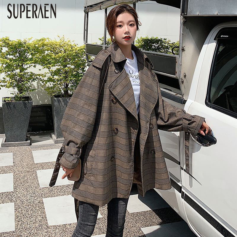 SuperAen Temperament Plaid Double-breasted   Trench   Coat for Women Autumn and Spring New 2019 Windbreaker Female