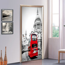London Big Ben Red Double-decker Bus Door Sticker Architecture Door Stickers Living Room Bedroom Vinyl Mural Art Wall Decals(China)