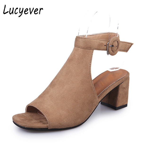 ac9cbfb8b8 Lucyever 2018 moda mujer Primavera Verano punta abierta Sandalias casual  Faux Suede tobillo Correa Botas grueso