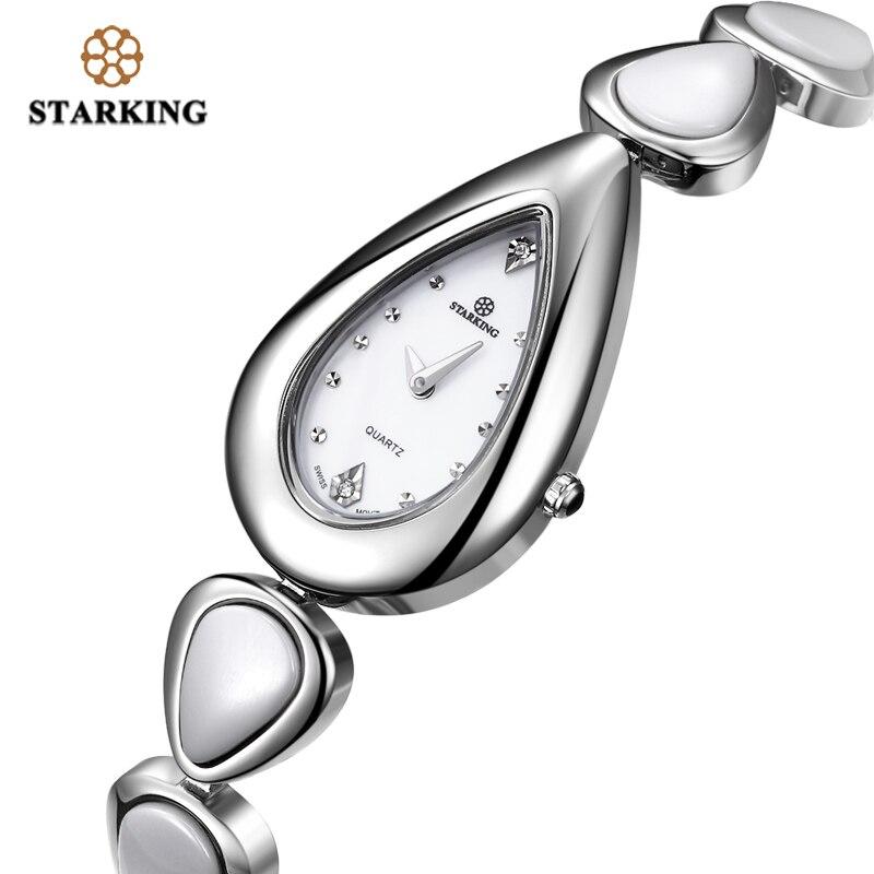 STARKING Sapphire Crystal White Ceramic Watch Women Quartz Stainless Steel Bracelet Watches Ladies Drop Shape Vintage Wristwatch l 10 women s stylish petals style bracelet quartz analog wristwatch golden white 1 x lr626