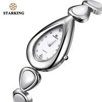 STARKING Sapphire Crystal White Ceramic Watch Women Quartz Stainless Steel Bracelet Watches Ladies Drop Shape Vintage Wristwatch