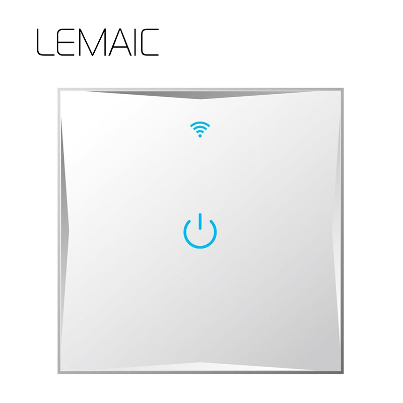 LEMAIC ST1 1Gang UK Standard Smart Switch Remote Control/Touch Wall Light Touch Switch 170-240V Surface Glass Panel 2.4G WiFi