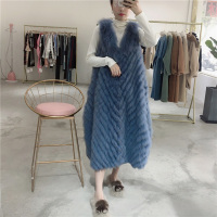 2018 winter sleeveless real fox fur vest women natural fur coat X long style plus size clothes korean kawaii