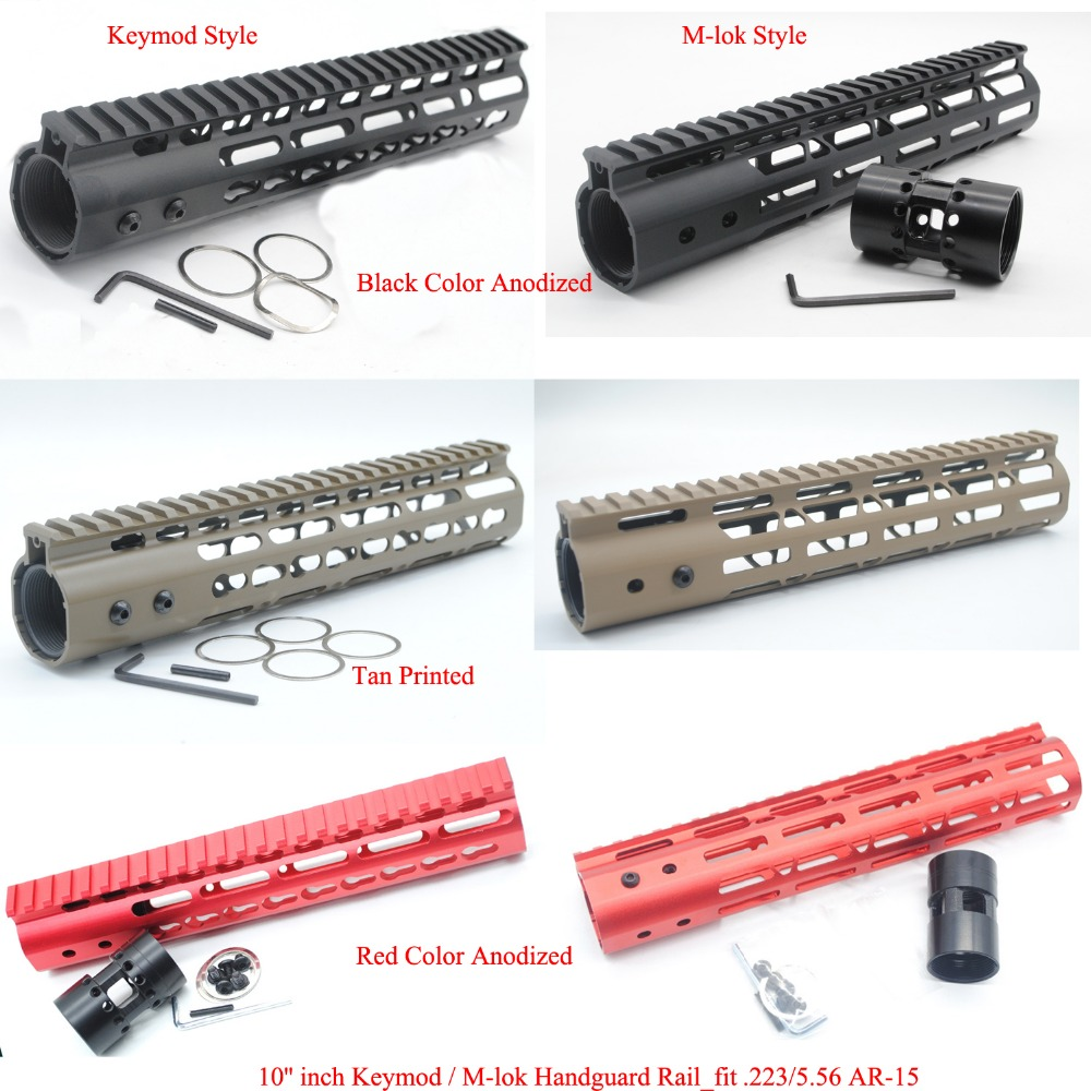 TriRock 10'' inch Length Keymod / M-lok Handguard Rail Free Float Picatinny Mount System Fit .223/5.56_Black/Red/Tan Color