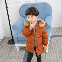 Children Down Cotton Baby unisex winter Coats girls warm kids jacket Winter Fur Collar Hooded cartoon Outerwear & Coats