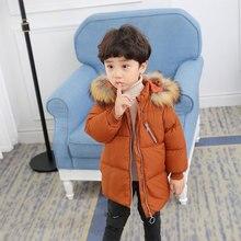 Children Down Cotton Baby unisex winter Coats girls warm kids jacket Winter Fur Collar Hooded cartoon Outerwear & Coats цены онлайн