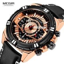 MEGIR 2019 New Men Quartz Watches Leather Military Sport Chronograph Watch Waterproof Wristwatch Luxury Brand Relogios 2118 Rose цена