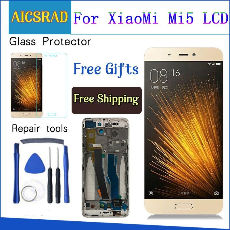 LCD pour Xiao mi 5 mi 5 LCD écran numériseur écran tactile panneau de verre capteur assemblage 1920*1080 pièces de rechange avec cadre