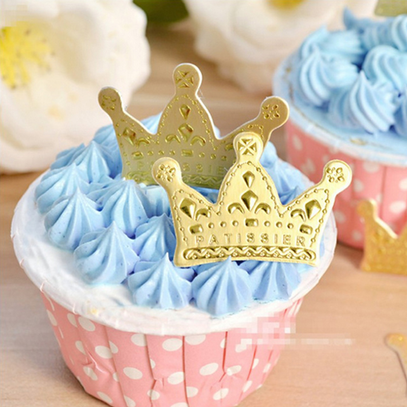 50 pcs/lot mini crown cake topper cupcake birthday cake decoration baby shower kids birthday party wedding favor supplies birthday cake