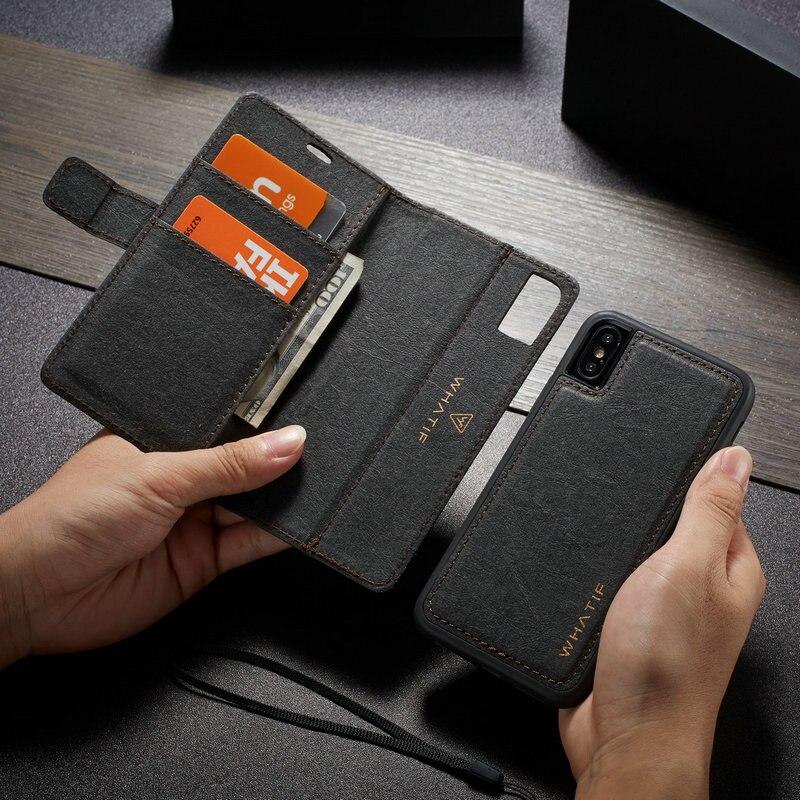 Papel Kraft De WHATIF Casos Aleta de Couro para o iphone 6 6 s 7 8 plus 2 em 1 Destacável Caso Fino para o iphone X Xr Xs Max Caso Carteira
