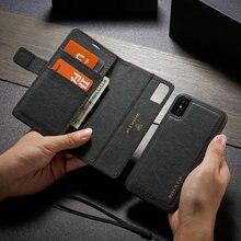 WHATIF Kraft Papier Leder Flip Fällen für iPhone 6 s 7 8 plus 2 in 1 Abnehmbare Fall für iPhone 11 Pro X Xr Xs Max Brieftasche Fall