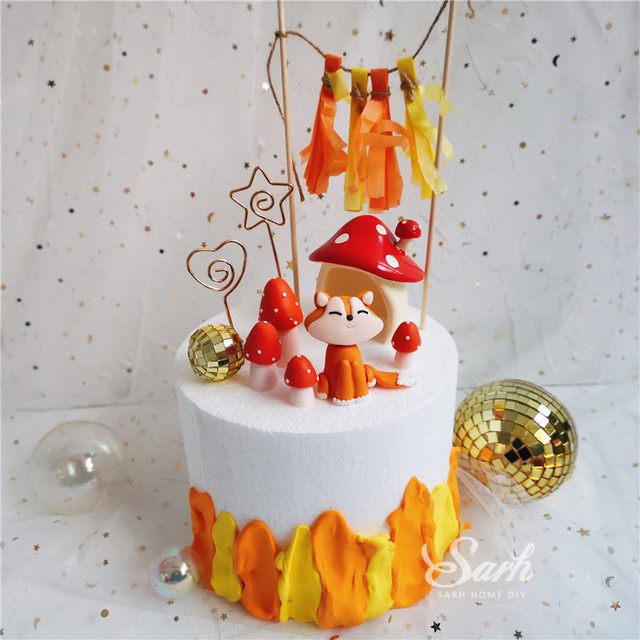 Ins Mushrooms Sitting Fox Cake Toppers Boy Girl Birthday Dessert Decoration for Childrens Day Party Suplies Lovely Gifts