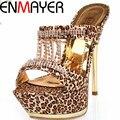 ENMAYER Novos Sapatos Da Moda Das Sandálias Das Mulheres Sensuais Sandálias de Strass Plataforma Leopardo Sandálias de Salto Alto Plataforma Do Partido Sapatos