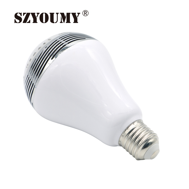 SZYOUMY E27 RGBW Led Light Bulb Bluetooth Speaker 4.0 Smart Lighting Lamp for Home Decoration Lampada Led Music Playing szyoumy e27 rgbw led light bulb bluetooth speaker 4 0 smart lighting lamp for home decoration lampada led music playing