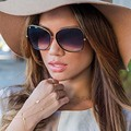 AFOFOO Fashion Oversized Sunglasses Metal Frame Luxury Brand Designer Women Coating Mirror Sun glasses UV400 Big Frame Shades