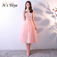 It's YiiYa New Pink Off The Shoulder Sleeveless Backless Lace Embroidery Cocktail Dress Tea Length Formal Dress MX048