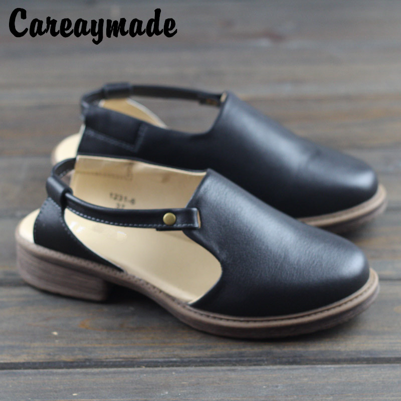 Careaymade 2019 summer new style of literature and art fan piping with sandals female retro manual casual Rome shoes in Middle Heels from Shoes