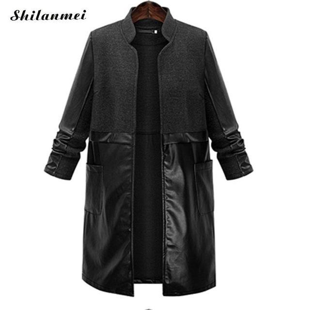 L To 5xl Pu Womens Coats Trench Coat For Women Uzun Ceket Coupe Vent Femme  Capuche