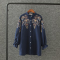 Women Blouse 2017 New Summer Women shirts White Embroidery blouse Plus Size Stand shirt Women Fashion Tops Blusa